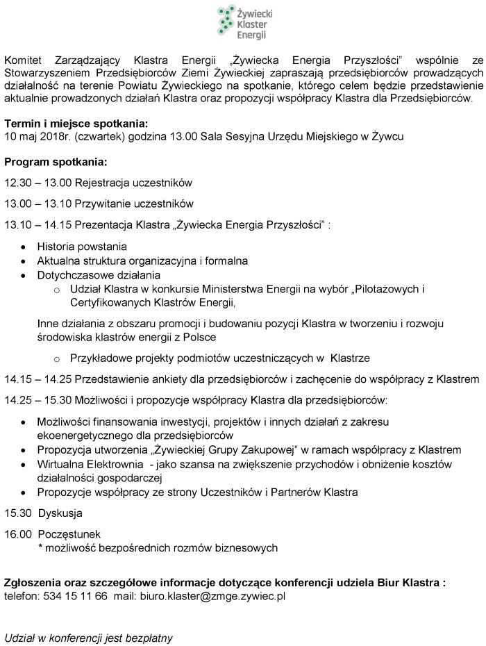 Zaproszenie Na Konferencję Dla Przedsiębiorców Organizowana Przez